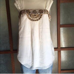 White House Black Market Beaded Bohemian Silk Top